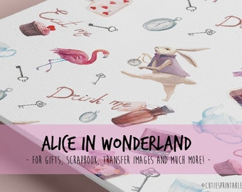 Alice in Wonderland Tea Time / Printable wrapping paper for Scrapbooking / paper sheets / gift wrapping paper