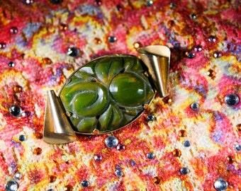 Vintage Jade Carved Bakelite Pin