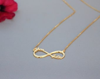 Personalized Infinity Necklace in Sterling Silver - Promise Necklace - Silver Necklace - Christmas Gift - Valentine Gift