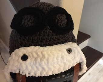 Aviator Hat with Goggles - Handmade Hats from Newborn to Adult