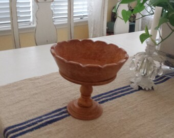 Vintage Wooden Scalloped Pedestal Bowl. Painted by Me, so Cute . Look Great with Fall Items.