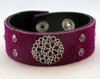 Purple Suede Cuff Bracelet