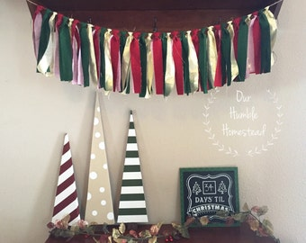 Red, Green, and Gold Christmas Banner - Fabric Banner, Bunting, Garland, Christmas Decor