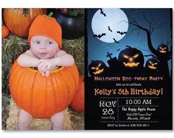Halloween Birthday Invitation with Photo. Halloween Costume Party Invitiaton. Boy or Girl Bday. Trick or Treat Invite. Printable Digital.