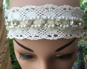 Lace Headband in White with Pearl and Rhinestone Accents.