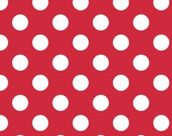 """White Polka Dots on Red Medium 3/4"""" inch - Riley Blake Designs  - Quilting Cotton Fabric - choose your cut"""