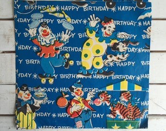 Vintage 50's Circus Clown Wrapping Paper / Birthday Gift Wrap