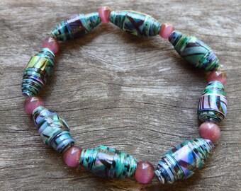 Paper Bead Bracelet - Beaded Bracelet, Bracelet, Paper Beads, Coloured Paper, Stretch Bracelet, Paper, Beads, DominiquesWares