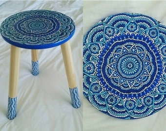Unique hand painted stool