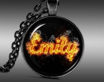 Emily Necklace,  Name Pendant, Quote Jewelry Pendants Charm Choker Chain FRW278