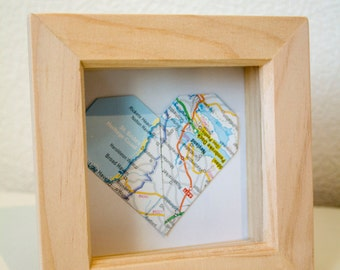 Origami Heart 'Where we got married' in frame