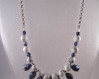 Gemstone necklace.  Sodalite and white Howlite necklace
