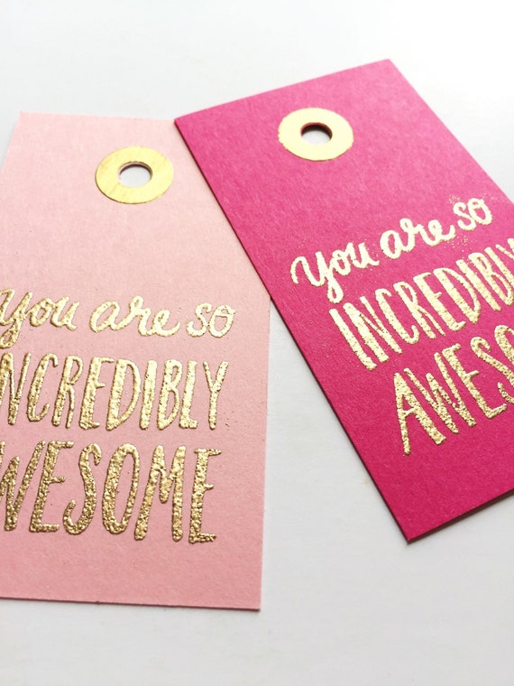 Hot Pink And Light Pink Combo Embossed Gold Gift Tags