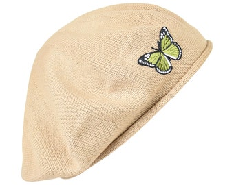 Ladies Tan Beret Hat with a Cute Green Butterfly Applique Stylish Fashionable Comfortable Olive Green Cotton Womens Hat