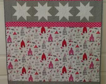 Baby Girl Quilt, Pink Quilt, Animal Quilt, Bird Quilt, Modern Baby Quilt, Lap Quilt, Handmade Quilt, FREE SHIPPING!