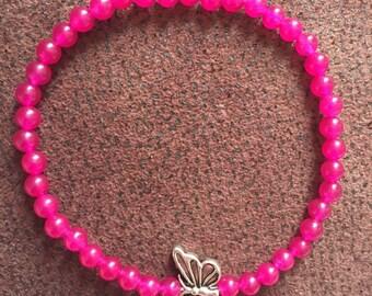 Little pink butterfly gemstone bracelet