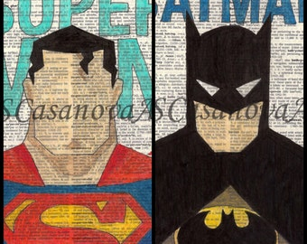 Super Hero, Batman, Superman on Dictionary Paper - Art Prints