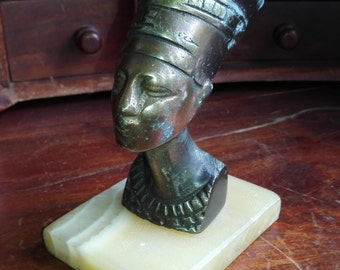 1930's Bronze Nefertiti Statue on Marble Base with Nice Patina Egypt Farao Queen