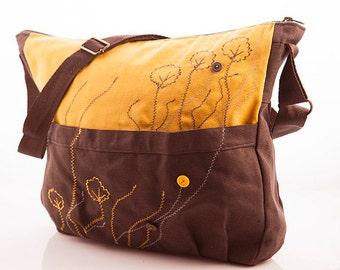 Hobo bag, hippie fabric purse, large cross body, yellow bag, cotton womens bag, embroidered bag gray fabric purse, hobo purse, crossbody bag