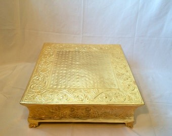 """Embossed Cake Plateau-Round or Square Cake Stand - Gold 18"""" only"""
