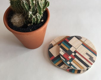 BAUHAUS geometric coasters / destijl/ mid century wood coaster/ colorful coasters/ prairie style/ modern decor/ tabletop/ hostess gift