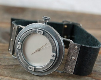 SALE 20% off !! - use the coupon code: SALE20 handcrafted silver watch, rough raw oxidized silver watch, leather bracelet watch