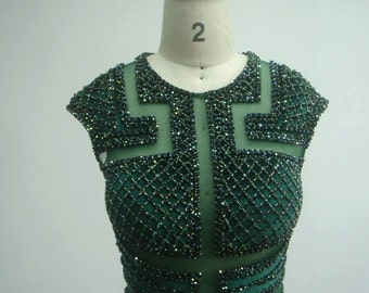 Custom Made Couture Beaded Short Prom Evening Pageant Dress