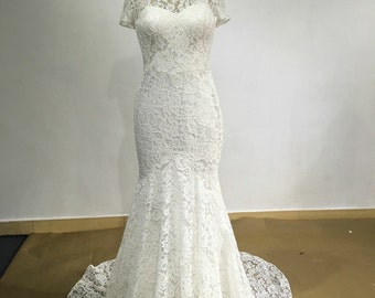 Short Sleeve Open alow Back Lace Mermaid White bridal wedding Dress