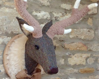 Handmade faux taxidermy Harris tweed stag deer wall mounted animal head trophy