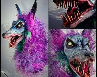 Ooak hand made faux taxidermy Pink Werewolf head mount