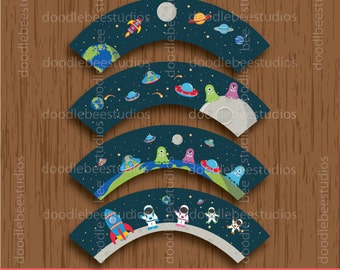 Outer Space Cupcake Wrappers, Digital Outer Space Cupcake Wrappers, Outer Space Printables, Outer Space Party, Astronaut Cupcake Wrappers