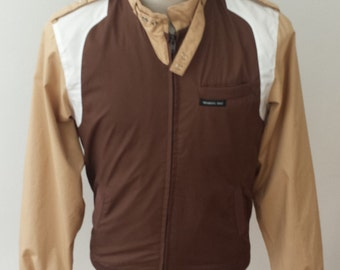 Vintage 80's Members Only 3 color Small full zip Jacket cafe racer