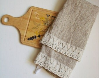 Linen kitchen towels with lace trim tea towel dish towels stonewashed hand towel by Luxoteks
