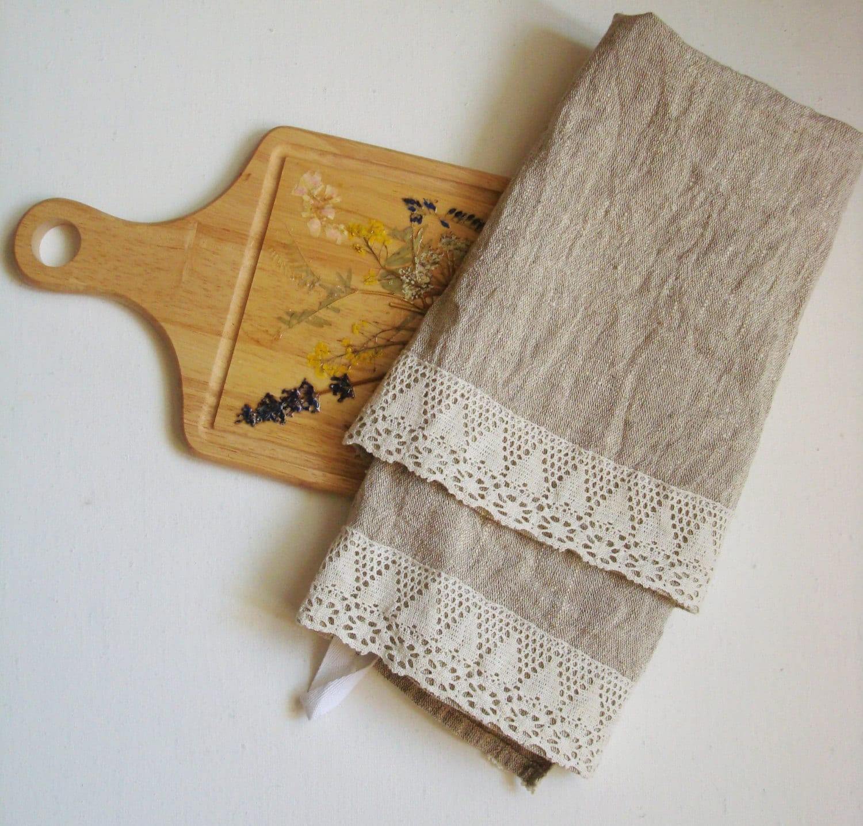 linen kitchen towels with lace trim tea towel dish towels. Black Bedroom Furniture Sets. Home Design Ideas
