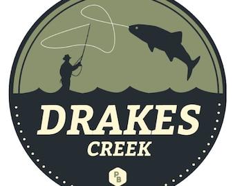 Drakes Creek Paddle Badge Decal, Kayak Art, Canoe Decal, Adventure Stickers, Kentucky Stickers