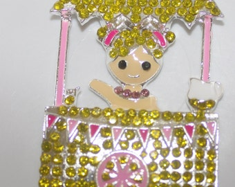 Lemonade Girl Rhinestone Pendant  Custom Design