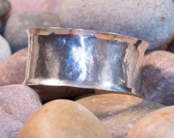 Sterling Silver Cuff Bracelet, Handmade Sterling Silver Cuff Bracelet, Hammered Cuff Bracelet, Anticlastic Cuff Bracelet