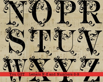 Svg Font, Fancy Sroll  Letters, Letters with Swirls,  Curly Letters, SVG, Vector, ai,png, eps, png, dxf, Wedding Monogram, Silhouettes