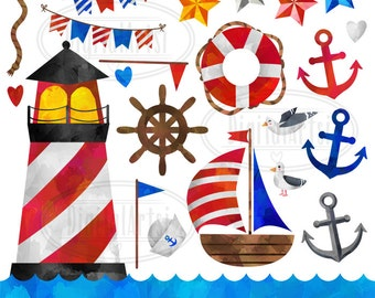 Nautical Clipart - Sailing Download - Instant Download - Watercolor Nautical Items - Boat - Lighthouse - Anchors