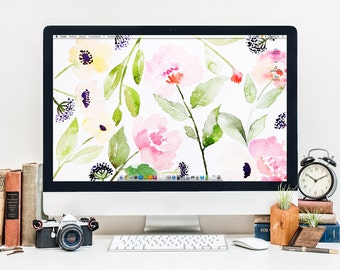 Floral Background - Desktop Wallpaper for Computer or Ipad - Watercolor Illustration - Instant Download Screensaver Pattern Painting
