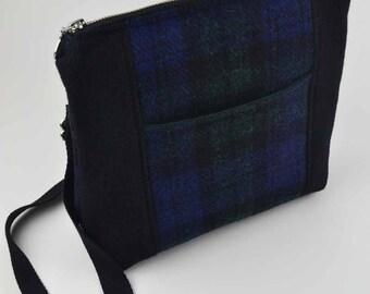 """Harris Tweed """"Kimberley"""" Cross Body Shoulder Bag. Black watch tartan plaid"""