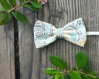 Boys cream bow tie, boys blue bow tie, versatile bow tie, boys summer bowtie,