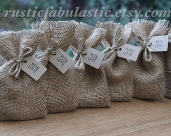"Rustic Hessian Burlap Wedding Party Gift Favour Bags Pouches W9 x H15cm (3.5"" x 6"")"