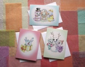 Set of 3 Cute Monsters Holiday Cards, Christmas Cards, Greeting Cards