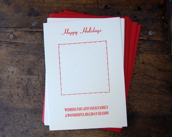 Happy Holidays - Insert your own photo - Letterpress Holiday Card (Set of 10)
