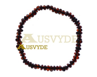Baltic amber bracelet Dark cherry Color Polished Natural Baltic amber for Adults Remedy Healing Beads jewelry 18 cm (7,1 inch) 5302