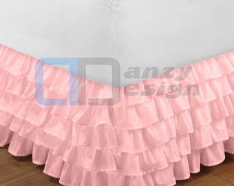 "Pink Ruffle Bed Skirt with 12"" to 30"" Deep Length"