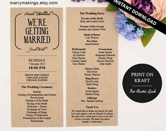 Wedding Program Template 11 | Printable Program Template | Ceremony Program | Instant Download | DIY Wedding Program