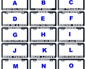 Beer funny assorted license plate frame