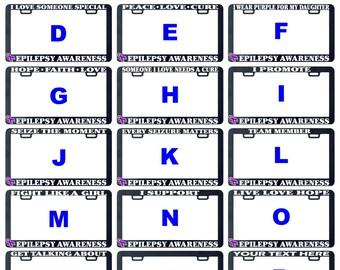 Epilepsy awareness license plate frame holder tag